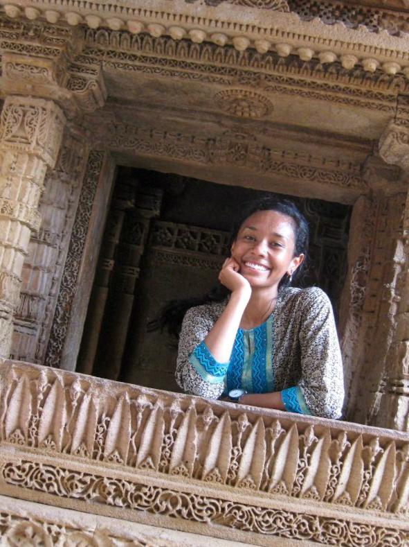 Pauline in India during her Internship at Indi Design